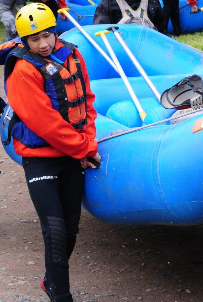 me holding raft