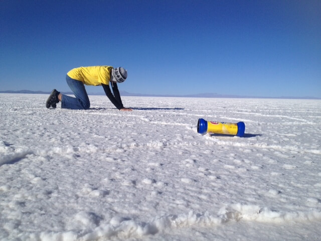 I wore the Chullo at the Salt Flats in Bolivia