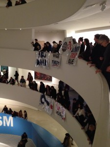 protesters in the Guggenheim Museum Protests
