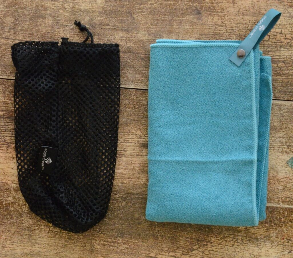 eagle creek travel towel review folded towel with mesh stuff sack