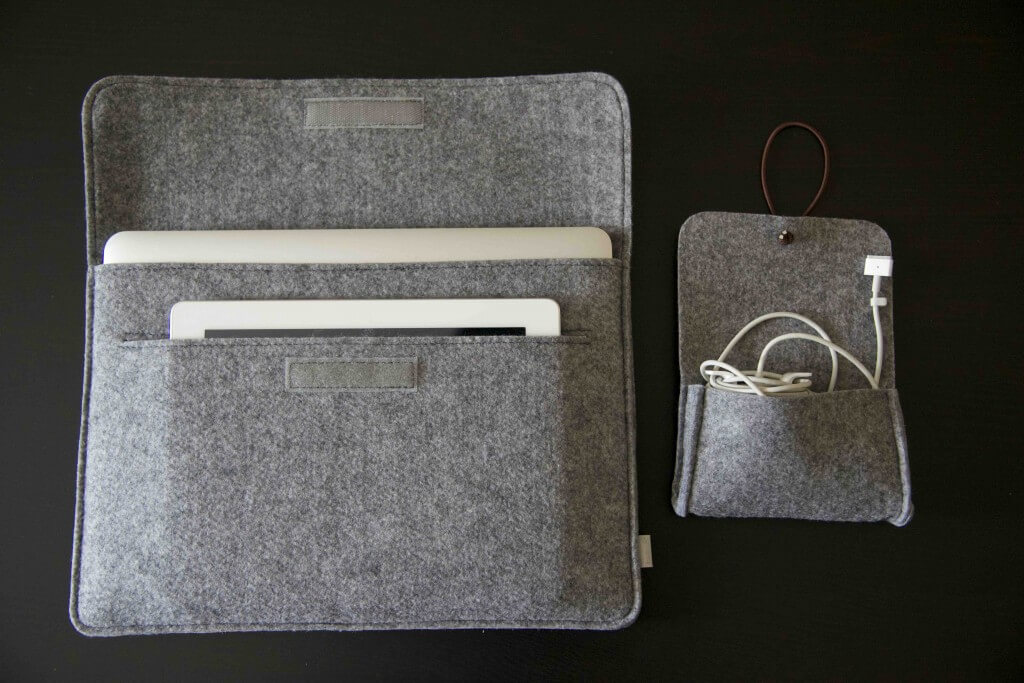 Inateck laptop sleeve with iPad 2 and MacBook Air 13 inch