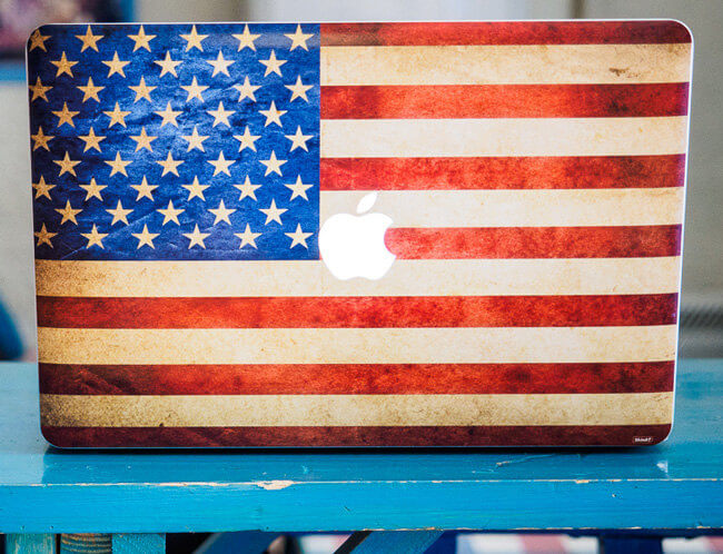 Macbook Air decal american flag