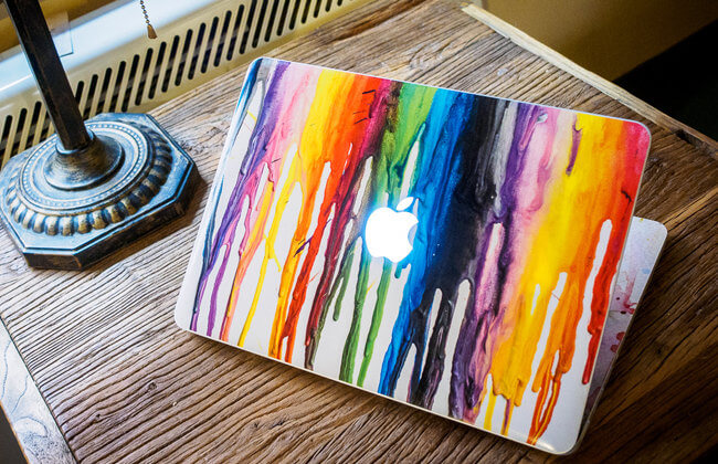 rainbow macbook decal