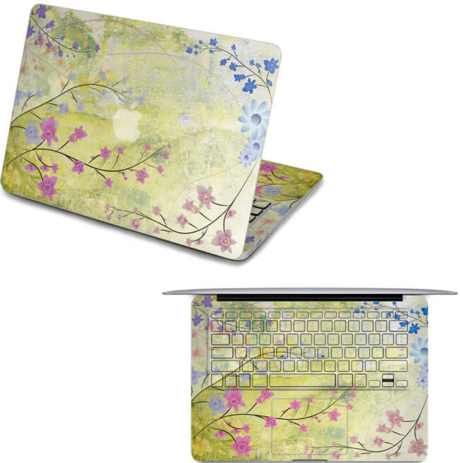 Flowery laptop macbook air skin