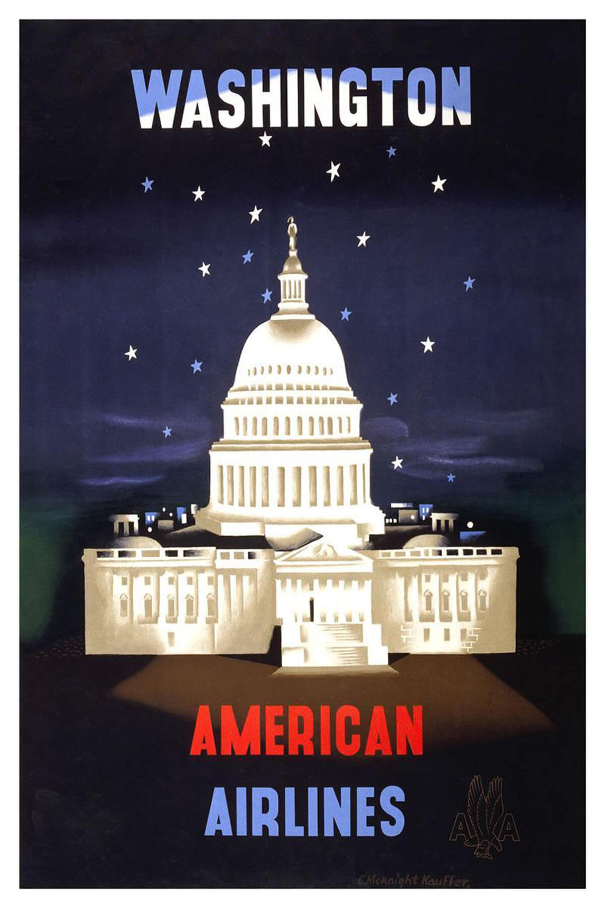 Washington D.C. American Airlines vintage travel poster