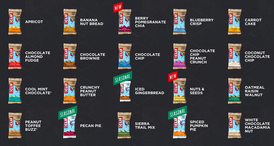 clif bar flavors