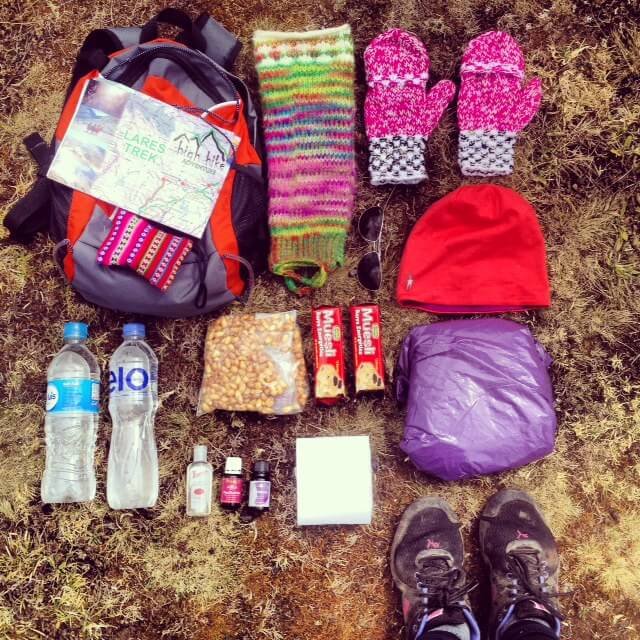 Some things we packed for trekking in Peru