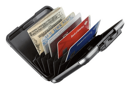 Sharkk aluminum wallet can hold several cards and bills