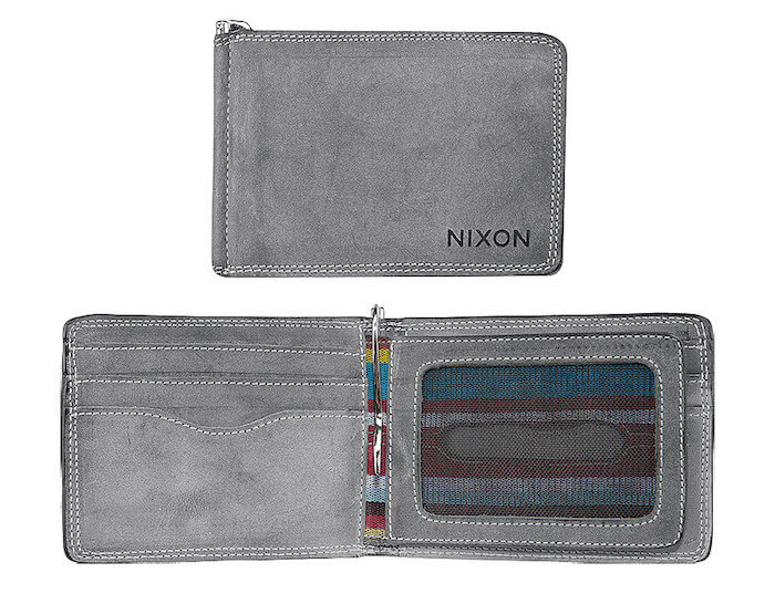 Made by Nixon, this bi-fold wallet has several slots and pockets for holding your cards and cash.