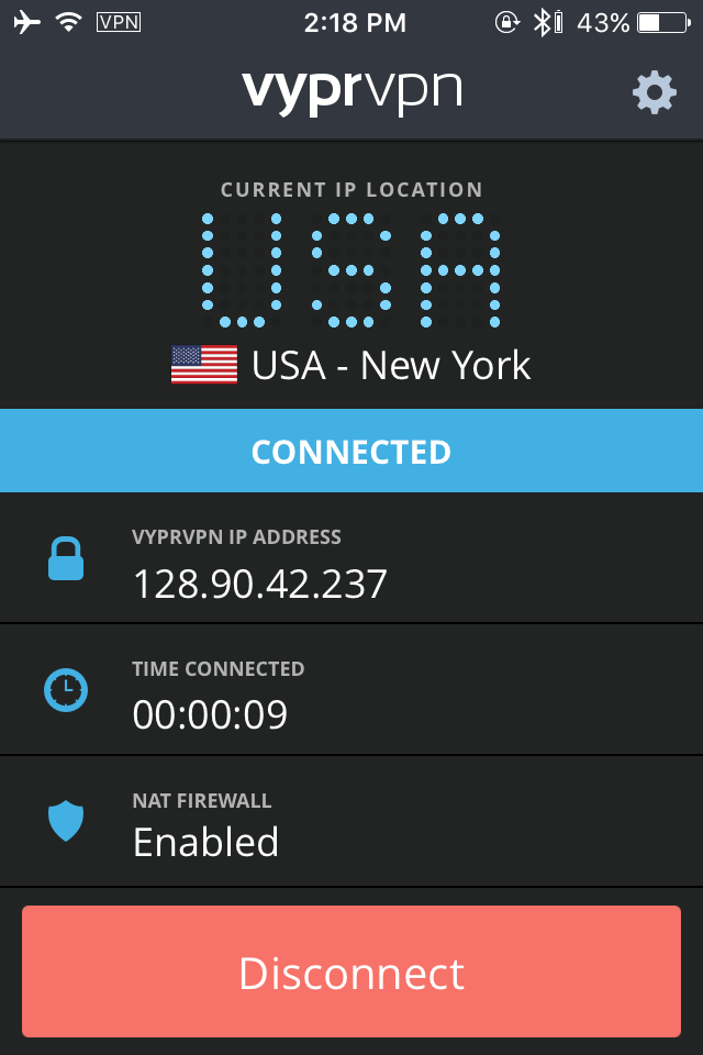 Screenshot from VyprVPN iPhone app