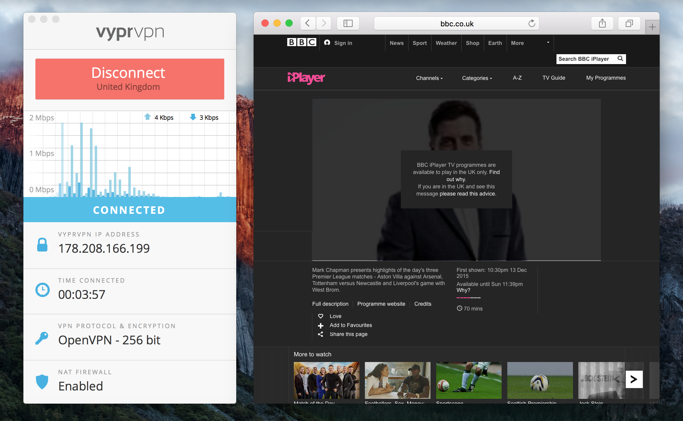 BBC iPlayer didn't work with VyprVPN when in the US, even when connected with Chameleon