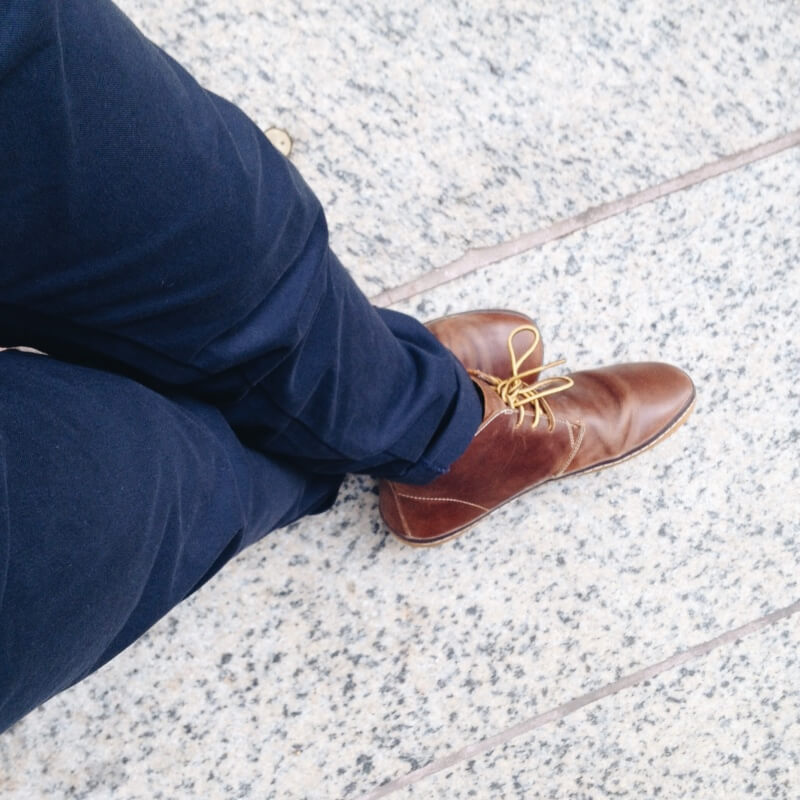Uniqlo chinos + Vivobarefoot Hopewell Desert Boots
