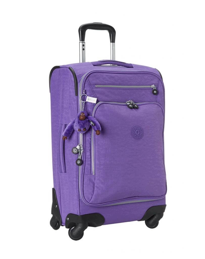 Side view of the Kipling Darcey carry-on in purple