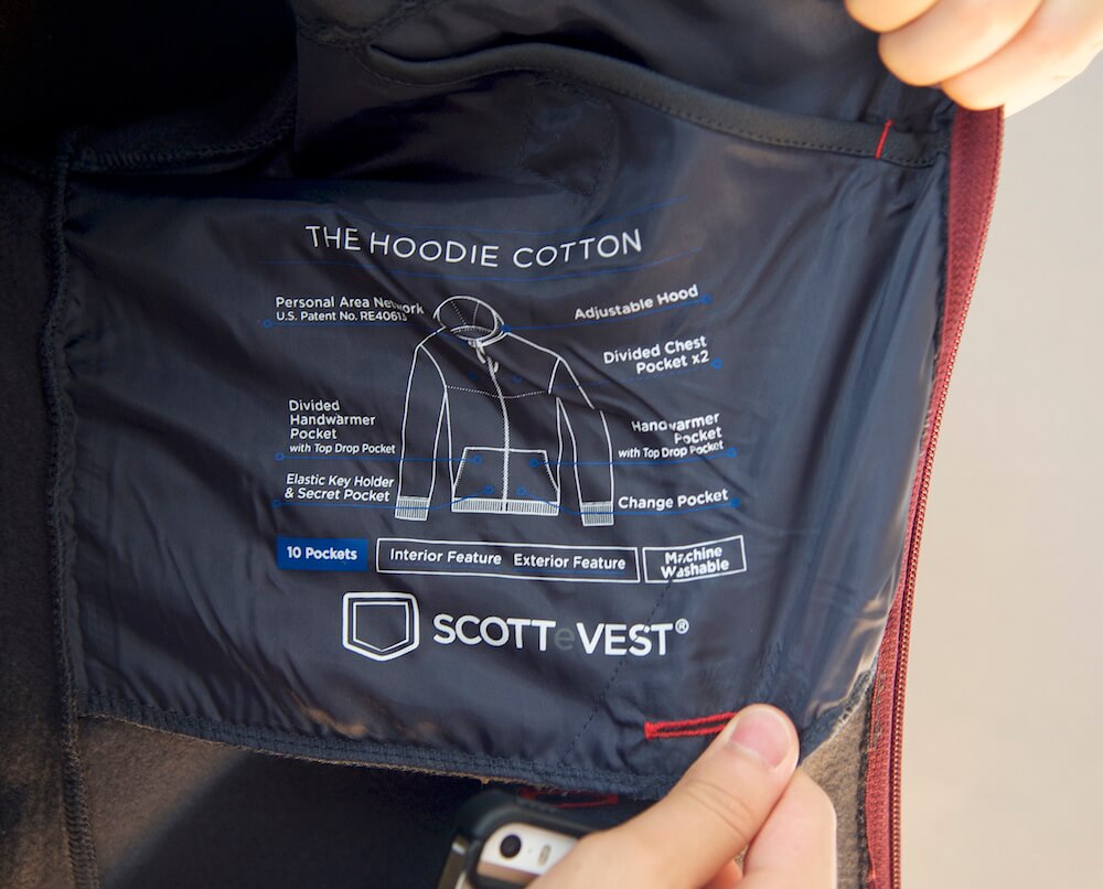 Pocket layout diagram printed onto the chest pocket