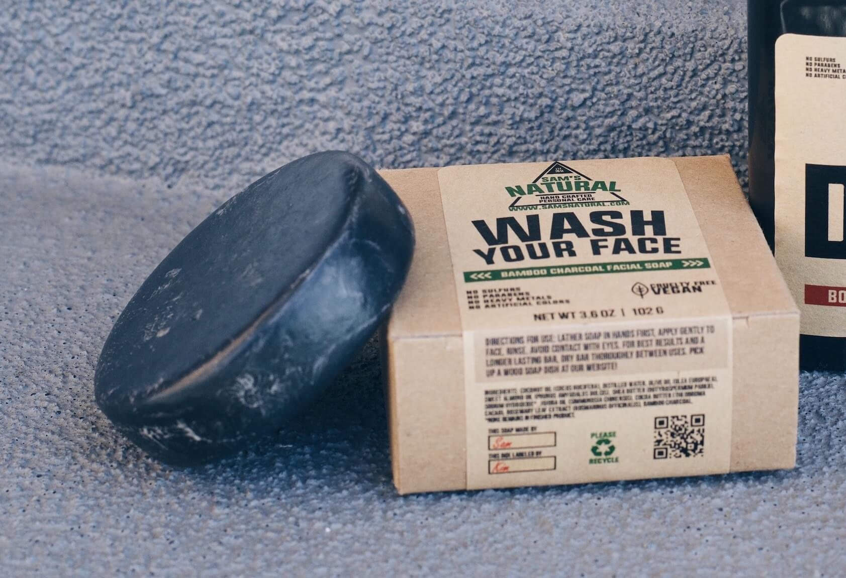 The soap bar looks a bit like a hockey puck. (It's half used in the pic)