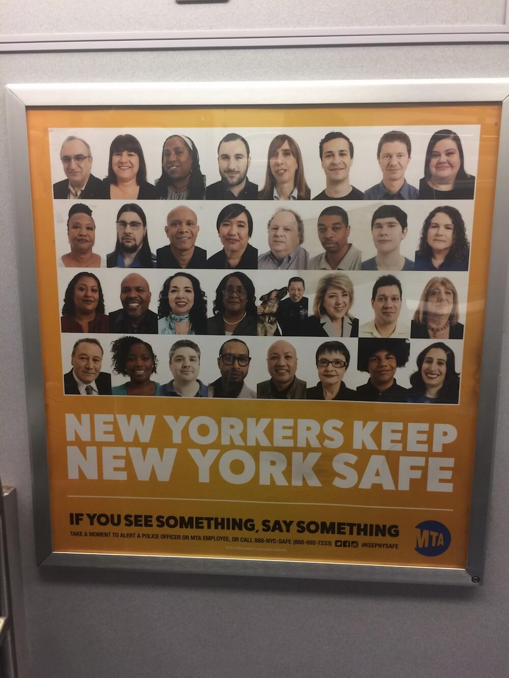 If you see something, say something. An ad in a NYC subway car.