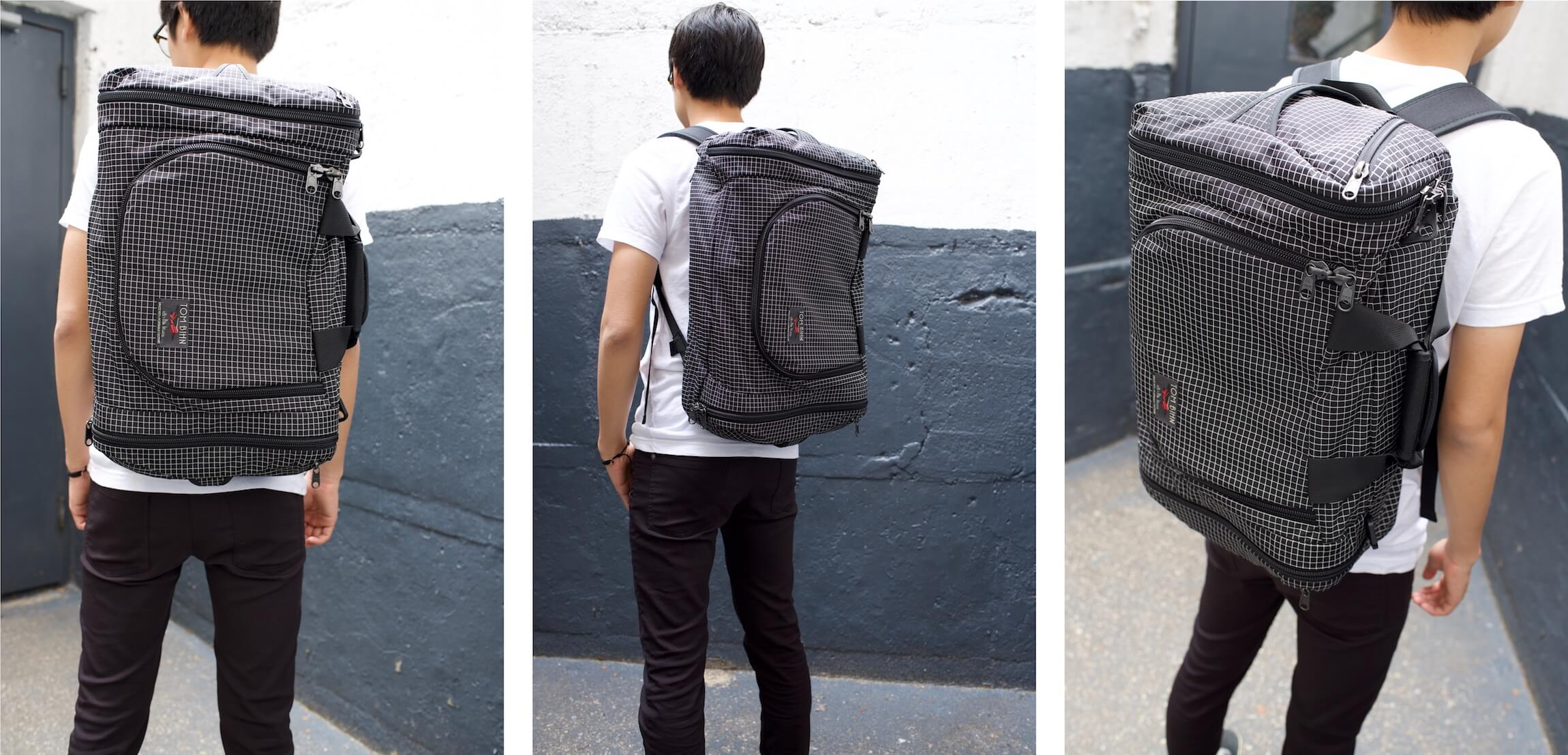 The Tom Bihn Aeronaut 30 Backpack viewed from 3 angles